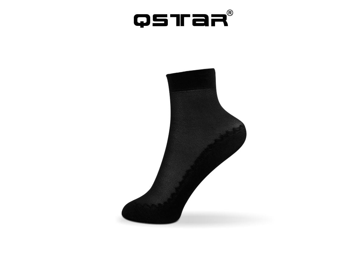 01b4739e7 QSTAR Plain Cotton Transparent Bottom Dance Ankle Socks - Progress Socks